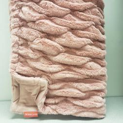 "Opalhouse Ruched Faux Fur Throw Blanket - 50"" x 60"", Blush P"