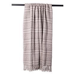 DII Rustic Farmhouse Cotton Adobe Stripe Blanket Throw with
