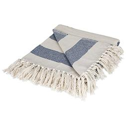 DII Rustic Farmhouse Cotton Cabana Striped Blanket Throw wit