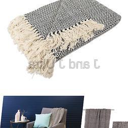 DII Rustic Farmhouse Cotton Chevron Blanket Throw with Fring