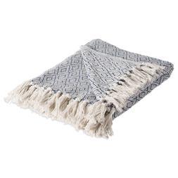 DII Rustic Farmhouse Cotton Diamond Blanket Throw with Fring