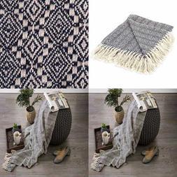 Rustic Farmhouse Cotton Diamond Patterned Blanket Throw W Fr