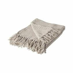 DII Rustic Farmhouse Cotton Houndstooth Blanket Throw with F