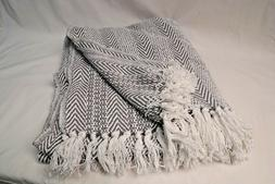 DII Gray Herringbone Stripe Throw