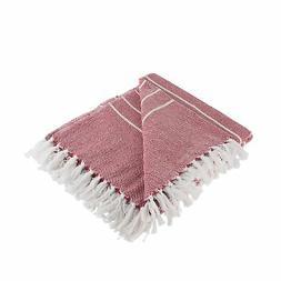 DII Rustic Farmhouse Cotton Thin White Striped Blanket Throw