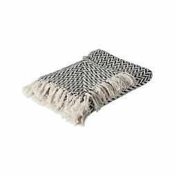 DII Rustic Farmhouse Cotton Zig-Zag Blanket Throw with Fring