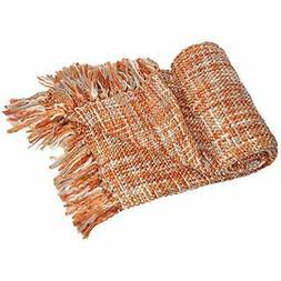 "Rustic Style Acrylic Throw Blanket Measuring, Orange Home """