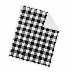 Safdie & Co. 50x60 Buffalo Plaid White and Black Ultra Soft