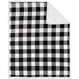 "Safdie "" Co. 50x60 Buffalo Plaid White And Black Ultra Soft"
