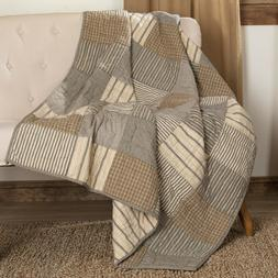 Sawyer Mill Charcoal Block Patchwork Quilted Throw Blanket C