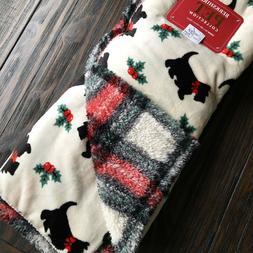 Berkshire SCOTTIE DOG Holiday Plush THROW BLANKET SHERPA Chr