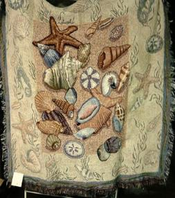 """Seashell Collection Beachside Tapestry Throw Blanket 50"""" x 6"""