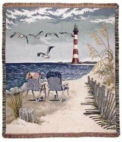 "Seaside Escape"" Lighthouse Seagulls Tapestry Throw Blanket 5"