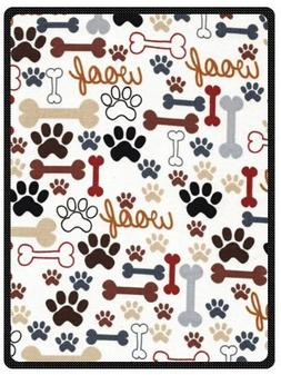 """Hot Sell Super Soft Dog and Dog Paw Prints Blanket 58"""" x 80"""""""