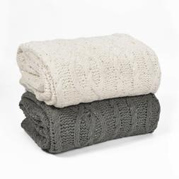 Battilo Sequin Soft Cable Knit Luxury Chenille Throw Blanket