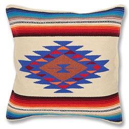 Serape Throw Pillow Cover, 18 X 18, Hand Woven in Southwest