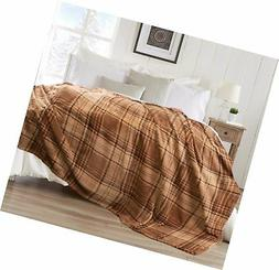Berkshire Serasoft Blanket Sturbridge Plaid, Mocha