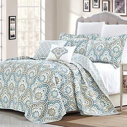 Home Soft Things Serenta Tivoli Ikat Design 5 Piece Teal Aqu