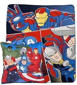 New Marvel Avengers Kids Fleece Throw and Cushion 2 Pack Bla