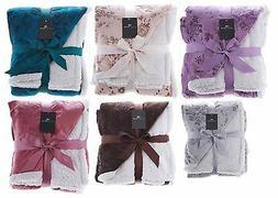 Sherpa & Micro Fur Floral Embossed Throw Blanket In 6 Colors