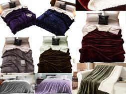 Sherpa Bed Blanket Queen Size Fleece Soft Plush Fuzzy Faux F