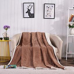 Senmiya Sherpa Blanket, Fuzzy Blanket Soft Warm Cozy Reversi