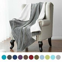Sherpa Blanket Throw Fuzzy Bed Throws Fleece Reversible Blan