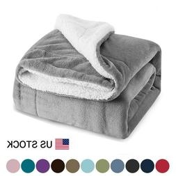 Sherpa Blanket Throw Fuzzy Bed Throws Fleece Reversible Blan