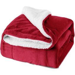 Bedsure Sherpa Blanket Throw Fuzzy Twin Size Fleece red plus