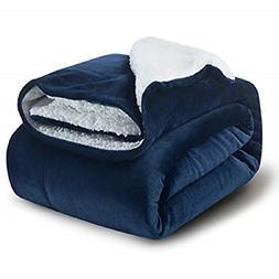 Bedsure Sherpa Blanket Twin Fleece Throw Blanket - Navy Blue