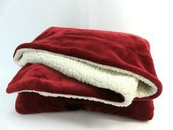 BEDSURE Sherpa Fleece Blanket 65in x 50in Red Plush Throw Bl