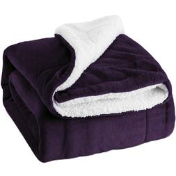 Bedsure Sherpa Fleece Blanket Purple Plush Throw Blanket Fuz