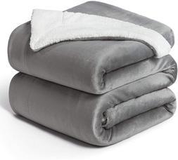 Bedsure Sherpa Fleece Blanket Queen Size Grey Plush Blanket