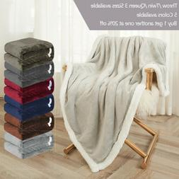 Sherpa Flannel Fleece Blanket Soft Plush Warm Thickened Bed