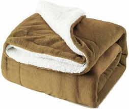 Bedsure Sherpa Fleece Blanket Throw Size Camel Plush  Blanke