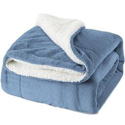 Bedsure Sherpa Fleece Blanket Throw Size Carolina Blue Plush