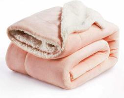 Bedsure Sherpa Fleece Blanket Throw Size Dusty Pink Plush Bl