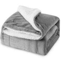 BEDSURE Sherpa Fleece Blanket Throw Size Grey Plush Fuzzy So