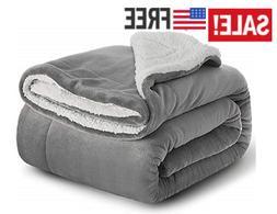 Sherpa Fleece Blanket Throw Size Grey Plush Throw Blanket Fu
