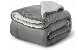 Bedsure Sherpa Fleece Blanket Throw Size Grey Plush Throw Bl