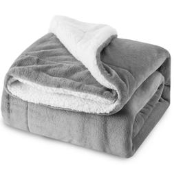 BEDSURE Sherpa Fleece Blanket Throw Size Grey Plush Throw Bl
