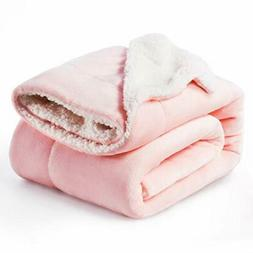 sherpa fleece blanket throw size pink plush