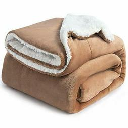 sherpa fleece blanket throw size taupe plush