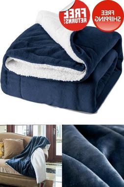 Sherpa Fleece Blanket Twin Size Navy Blue Plush Blanket Fuzz