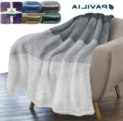 PAVILIA Sherpa Fleece Ombre Throw Blanket | Super Soft Cozy