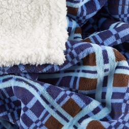Lavish Home Sherpa Fleece Throw Blanket With Blue and Brown