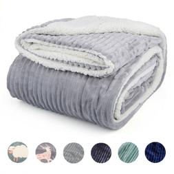 Sherpa Fleece Throw Flannel Blanket Cozy Fuzzy Plush Sherpa