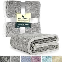 PAVILIA Premium Sherpa Melange Throw Blanket for Twin Bed, C