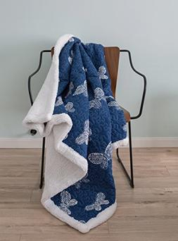 SLPR Sherpa Throw Blanket for Kid's Room Nursery with Navy B