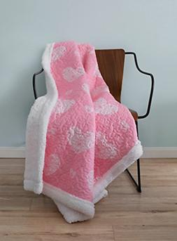 SLPR Sherpa Throw Blanket for Girl's Room Nursery with Pink